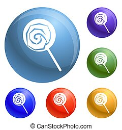 Lollipop icons set 6 color isolated on white background