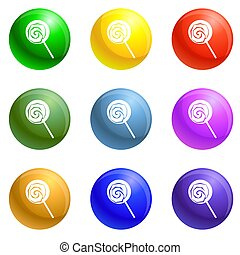 Lollipop icons set - Lollipop icons 9 color set isolated on ...