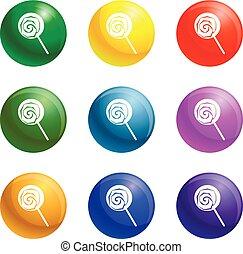 Lollipop icons set vector - Lollipop icons vector 9 color ...