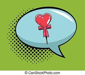Lollipop in bubble pop art cartoon