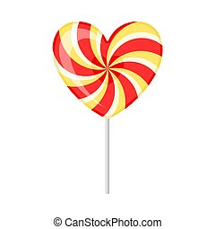 Lollipop in the shape of a heart. Vector illustration on a white background.