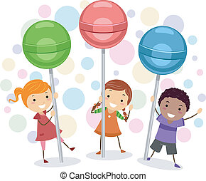 Lollipop Kids - Illustration of Kids Holding Giant Lollipops