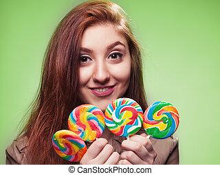 lollipop, meisje, jonge, groene