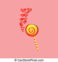 lollipop red and yellow round with red hearts icon