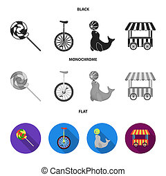 Lollipop, trained seal, snack on wheels, monocycle.Circus set collection icons in black, flat, monochrome style bitmap symbol stock illustration web.