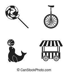 Lollipop, trained seal, snack on wheels, monocycle.Circus set collection icons in black style raster,bitmap symbol stock illustration web.