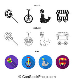 Lollipop, trained seal, snack on wheels, monocycle.Circus set collection icons in black,flat,outline style bitmap symbol stock illustration web.