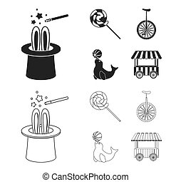 Lollipop, trained seal, snack on wheels, monocycle.Circus set collection icons in black,outline style bitmap symbol stock illustration web.