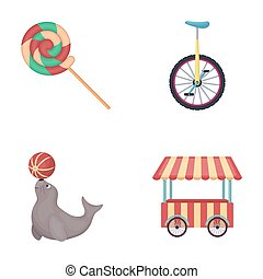 Lollipop, trained seal, snack on wheels, monocycle.Circus set collection icons in cartoon style bitmap symbol stock illustration web.
