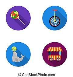 Lollipop, trained seal, snack on wheels, monocycle.Circus set collection icons in flat style raster,bitmap symbol stock illustration web.