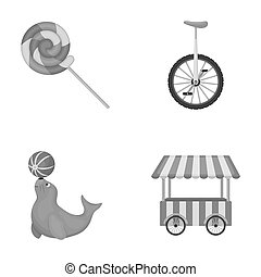 Lollipop, trained seal, snack on wheels, monocycle.Circus set collection icons in monochrome style raster, bitmap symbol stock illustration web.