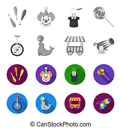 Lollipop, trained seal, snack on wheels, monocycle.Circus set collection icons in monochrome,flat style bitmap symbol stock illustration web.