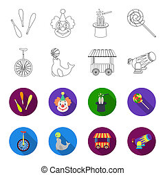 Lollipop, trained seal, snack on wheels, monocycle.Circus set collection icons in outline,flat style bitmap symbol stock illustration web.
