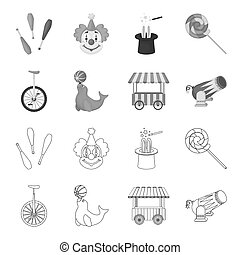 Lollipop, trained seal, snack on wheels, monocycle.Circus set collection icons in outline,monochrome style bitmap symbol stock illustration web.