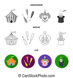 Lollipop, trained seal, snack on wheels, monocycle.Circus set collection icons in flat,outline,monochrome style bitmap symbol stock illustration web.