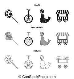 Lollipop, trained seal, snack on wheels, monocycle.Circus set collection icons in black,monochrome,outline style bitmap symbol stock illustration web.