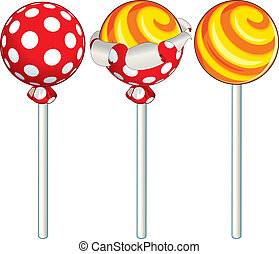 Lollipop - Unwrapping sweet lollipop, vector illustration