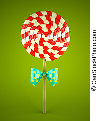 Lollipop with bow on green background 3D