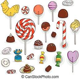 lollipops, セット, チョコレート, キャンデー, icons., 艶出し, キャンデー,...
