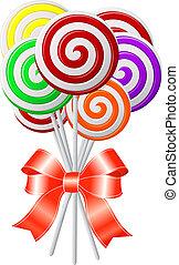 lollipops, リボン, 赤