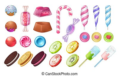Lollipops and candies. Chocolate and toffee round sweets, ...
