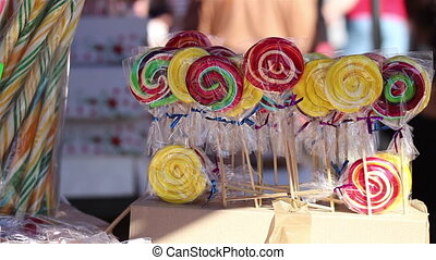 Lollipops for Sale - Colorful lollipops, for sale, on the...