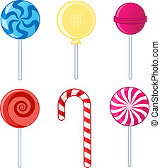 Lollipops - Illustration of various types of lollipops.