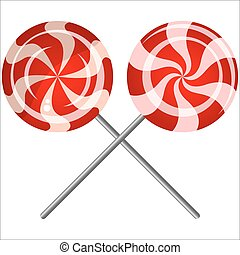 lollipops - sweet candy lollipops on white background