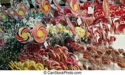 Lollipops in the shop at Christmas fair - Lollipops in the...