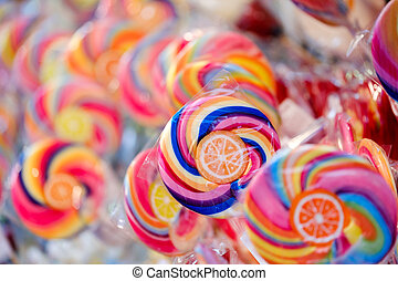 Lollipops in the shop at Christmas fair