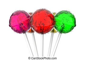 Lollipops on white