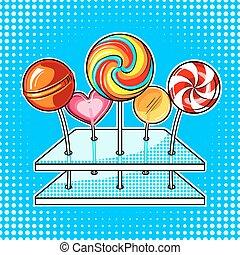 Lollipops pop art vector illustration