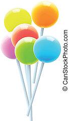 lollipops., set, colorito, vettore