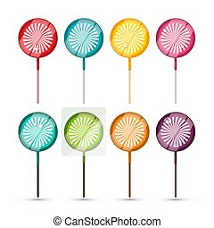 Lollipops Set - Vector Colorful Lollipop Icons Isolated on White Background. Candy Symbols.