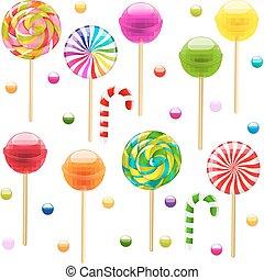 Lollypop Big Set With Gradient Mesh, Vector Illustration