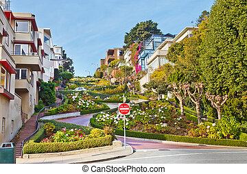 lombard 通り, 中に, サンフランシスコ