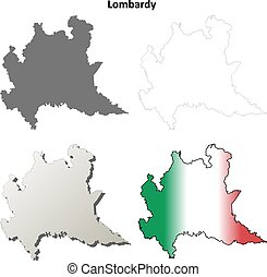 Lombardy blank detailed outline map set - Lombardy region...