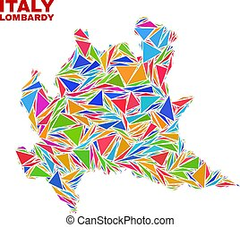 Lombardy Region Map - Mosaic of Color Triangles - Mosaic...