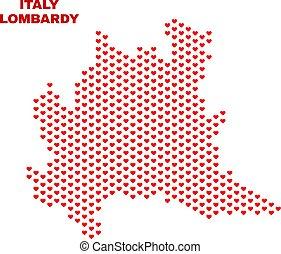 Lombardy Region Map - Mosaic of Heart Hearts - Mosaic...
