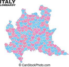 Lombardy Region Map - Mosaic of Love Hearts - Mosaic...
