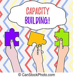lombfűrész, szöveg, egyedek, workforce, három, darabok, megerősít, épület., tartott, jelentés, tehetség, fogalom, üres, emberek, színezett, kapacitás, tervezés, rejtvény, kézírás, hands., különböző