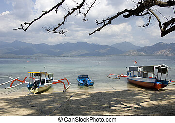 lombok, strand, bergen, bootjes