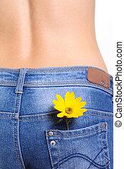 lomme, blomst, jeans, kvindelig