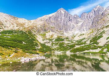 lomnica, 첨단, 와..., 바위가 많은, mountain-lake, 에서, 그만큼, 높은, tatras, 국립 공원, 에서, 슬로바키아 공화국, europe.