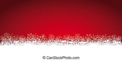 Lon Red Christmas Card Snowflakes