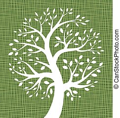 lona, árvore, textura, verde branco, ícone