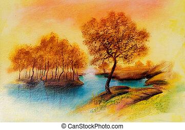 lona, óleo, paisagens