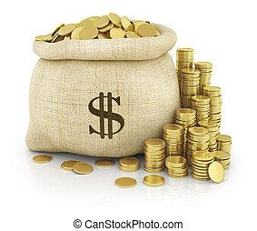 lona, bolsa, isolated., monedas., fondo., blanco, llenado