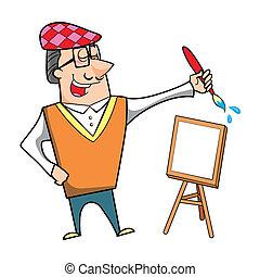 lona, caballete, caricatura, brocha, artista