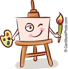 lona, cavalete, segurando, cor, ilustração, vetorial, escova, fundo, branca